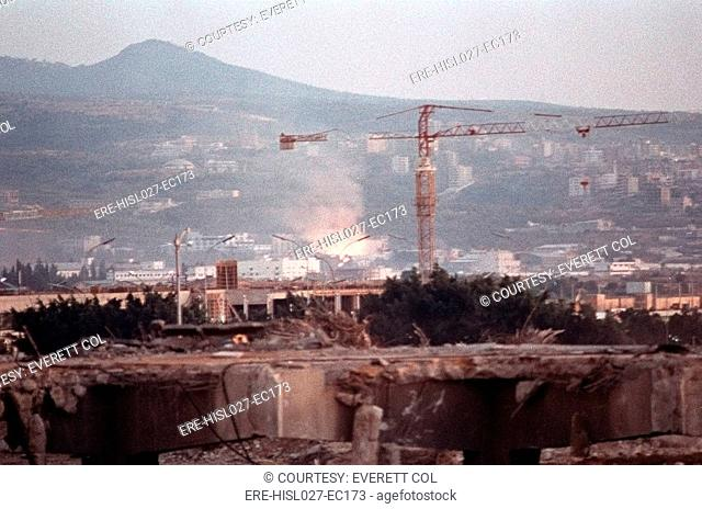 Concrete slabs and rubble remains of the US Marine Barracks at Beirut International Airport. 241 Marines lost their lives when the building was attacked by a...