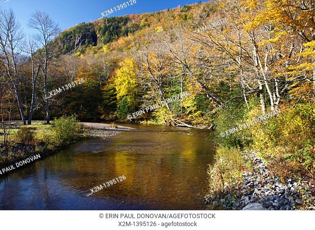 Crawford Notch State Park - Saco River in the White Mountains, New Hampshire USA during the autumn months
