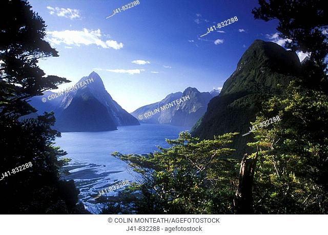 Milford Sound and Mitre Peak Fiordland National Park New Zealand