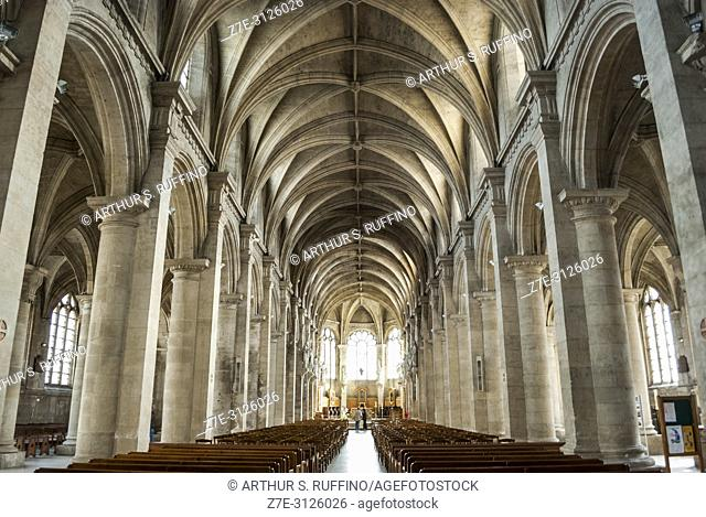 Interior of Notre Dame Cathedral of Le Havre. The nave. Le Havre, UNESCO World Heritage Site, Seine-Maritime Department, Normandy, France, Europe