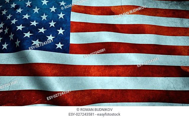Realistic Ultra-HD flag of the USA waving in the wind. Seamless loop with highly detailed fabric texture. Loop ready in 4k resolution