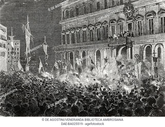 Huge demonstrations in front of the Royal Palace on the evening of the failed assassination attempt of Umberto I in Naples, November 17, 1878, Campania, Italy