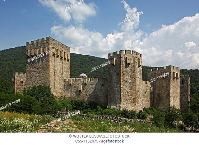 Serbia,Manasija Monastery,founded by Despot Stefan Lazarevi,1407-1418,fortification wall,castle,Orthodox,christian,religious,exterior,outside,facade,colour