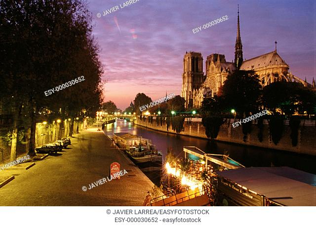 Notre-Dame Cathedral and Seine River. Paris. France