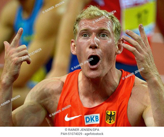Arthur Abele of Germany reacts after the 1500m event of the Decathlon competition at the European Athletics Championships 2014 at the Letzigrund stadium in...