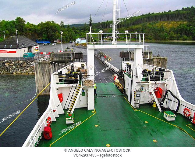 The Armadale (Skye) ferry departing to Mallaig harbour, Highland region, Scotland, UK