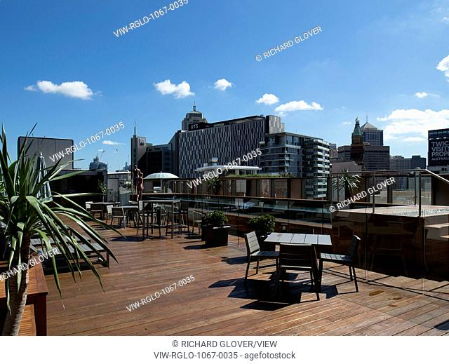 View of rooftop terrace and pool. The Old Clare Hotel, Sydney, Australia. Architect: Tonkin Zulaikha Greer, 2015