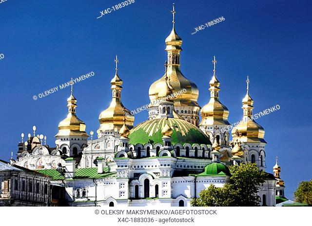 Golden domes of the Mother of God Assumption church  Kyiv Pechersk Lavra, Cave monastery in Kiev, Ukraine