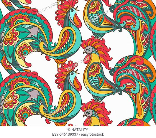 Vector seamless pattern with ornate floral roosters. Beautiful colorful endless background with 2017 Chinese New Year Symbols