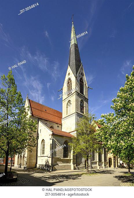 view of Holy Cross Minster in historical city center, shot in bright spring light at Rottweil, Baden Wuttenberg, Germany