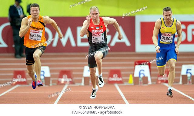 Pieter Braun of the Netherlands (L-R), Arthur Abele of Germany and Petter Olson of Sweden in action during the men's Heptathlon 60m competition at the IAAF...
