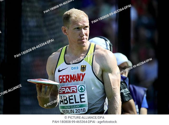 08.08.2018, Berlin: Track and Field: European Championship, Decathlon, Men: Arthur Abele from Germany at the Discus. Photo: Michael Kappeler/dpa