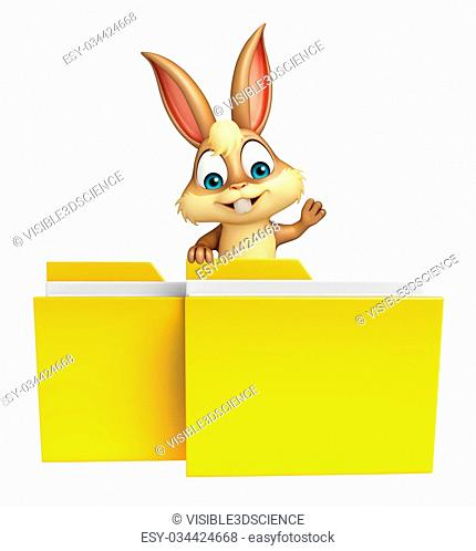 3d rendered illustration of Bunny cartoon character with folder