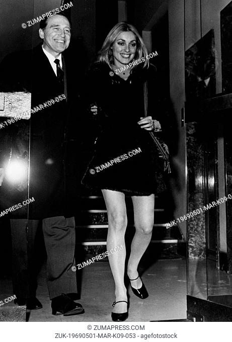 May 11, 1969 - London, England, U.K. - Actress SHARON TATE leaving a press conference with VICTORIO GASSMAN promoting the movie 'Eye of the Devil' in May 1969