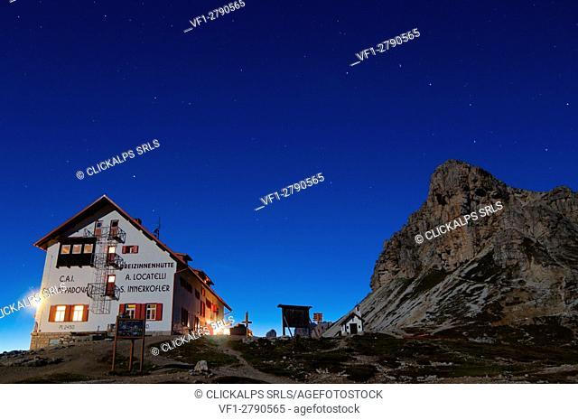 Refuge Locatelli, under a starry sky, Sesto Dolomites Trentino Alto Adige, south tyrol, Bolzano district, Dobbiacco, Italy, Europe, Dolomites