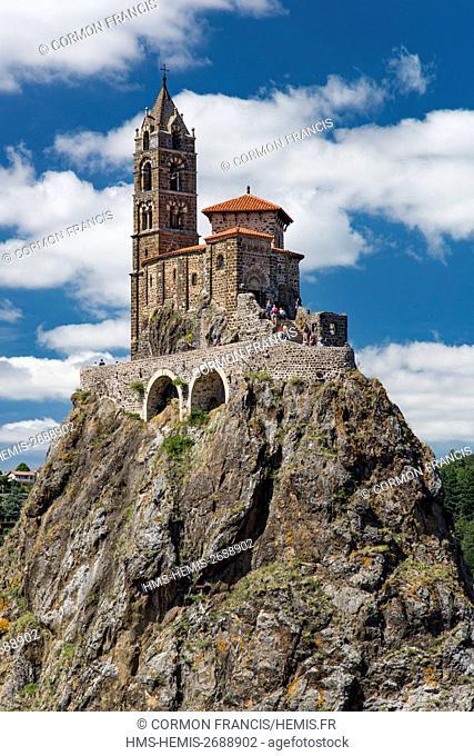 France, Haute Loire, Aiguilhe, St. Michel chapel, Roman church built on a volcanic peak
