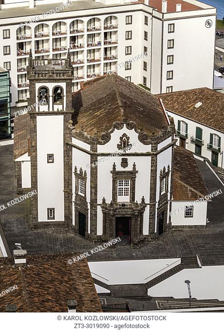 Church of Sao Pedro, elevated view, Ponta Delgada, Sao Miguel Island, Azores, Portugal
