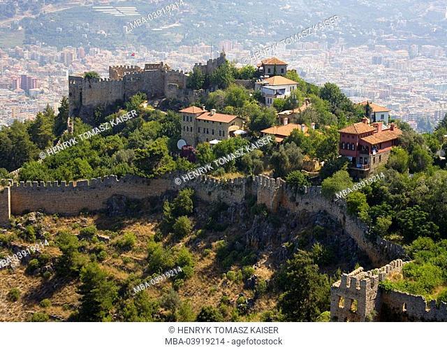 Turkey, Alanya, castle-ruin, top view, Mediterranean-coast, Mediterranean, city, castle-mountain, castle, byzantine, fortress, castle complex, ruin, castle wall