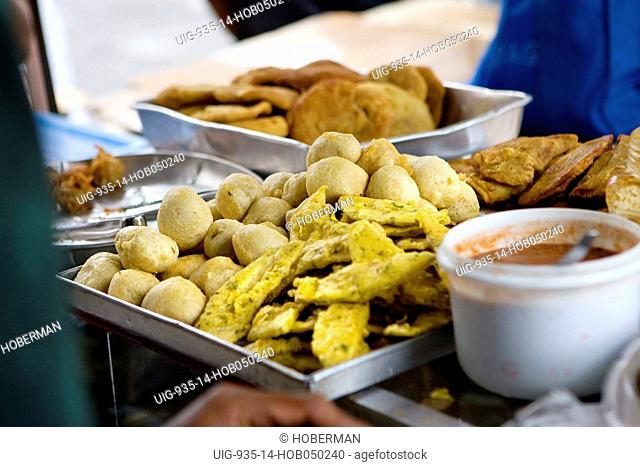 Local Creole Food at a road side stall, Port Louis Market, Port Louis, Mauritius