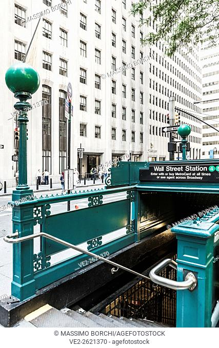 USA, New York, New York City. Manhattan, Lower Manhattan, the entrance of Wall Street Subway Station