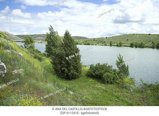 Reservoir in Maderuelo is an ancient village in Segovia province Castile Leon Spain