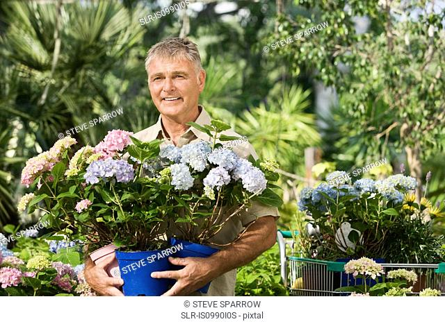 Senior man with pot plants at garden centre