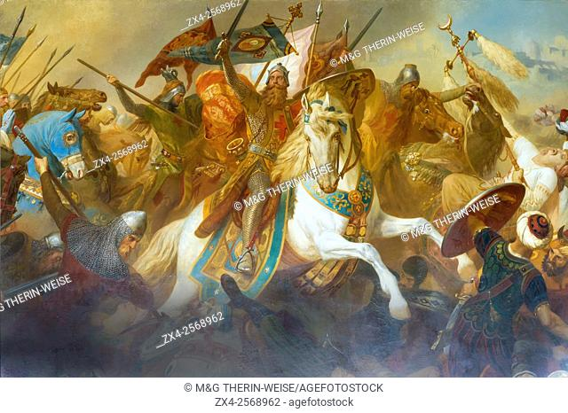 Imperial Hall, Friedrich Barbarossa at a battle against Islamic army, Mural Painting, Imperial Palace (Kaiserpfalz), Goslar, Harz, Lower Saxony, Germany