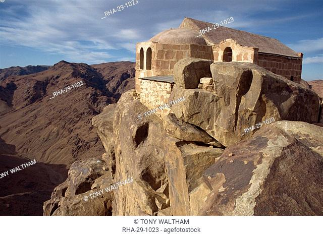 Holy Trinity Chapel, rebuilt in 1934 on summit of Mount Sinai, where Moses received the Ten Commandments, Egypt, North Africa, Africa