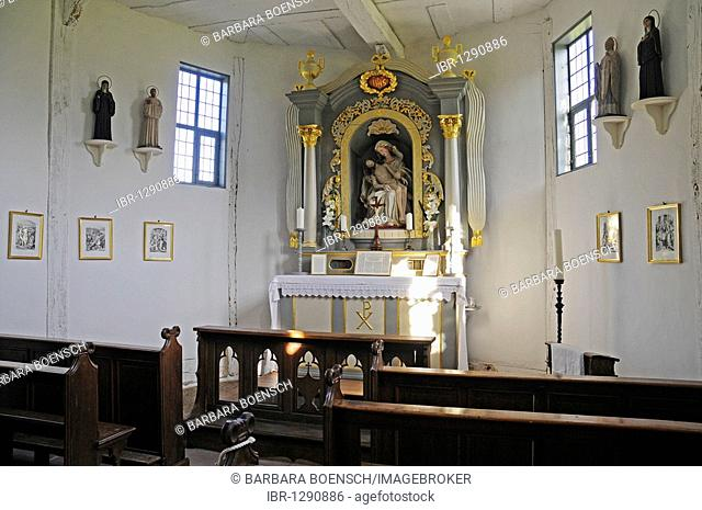 Chapel, chapel school, historic timber-framed building, open-air museum, Westphalian State Museum for Ethnology, Detmold, North Rhine-Westphalia, Germany