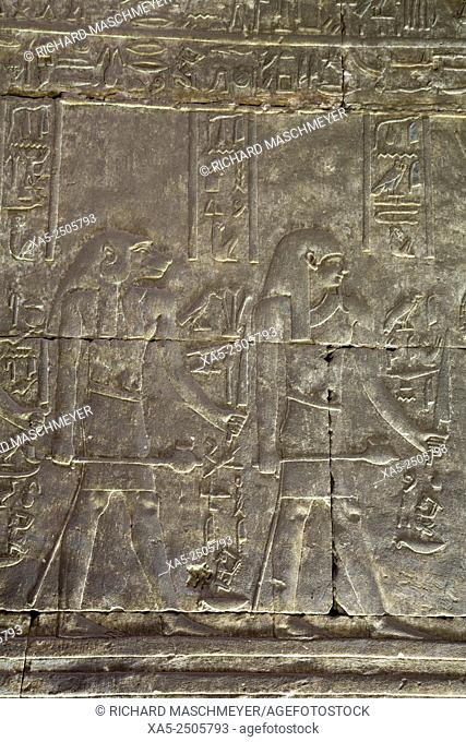 Relief of the God Maahes (left), Temple of Horus, Edfu, Egypt
