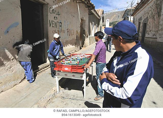 Playing table football. Tarabuco is a Bolivian town in the department of Chuquisaca, capital of the Yamparáez Province and its first section