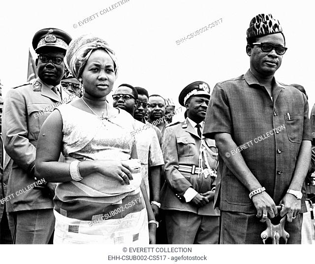 President Joseph Mobutu (right) of the Congo with his wife during a ceremony at Kinshasa. Sept. 12, 1967. Mme. Marie Antoinette Mobutu launched a Congo River...