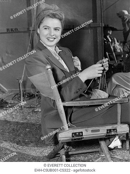 Swedish actress, Ingrid Bergman knitting on a RKO set ca. 1947. (CSU-2015-7-326)