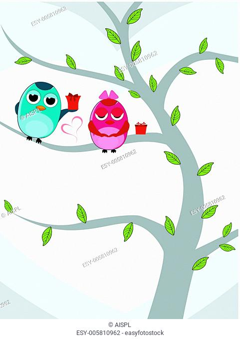 Vector illustration of two love birds sitting on tree with gift