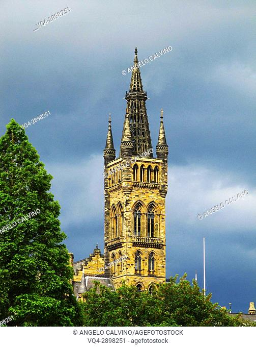 Glasgow University's towers built in the 1870s in the Gothic revival style, Glasgow, Scotland