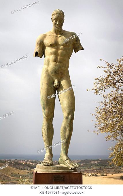 Ikaro bronze sculpture by Igor Mitoraj exhibited in Valle dei Templi, Valley Of The Temples, Agrigento, Sicily, Italy