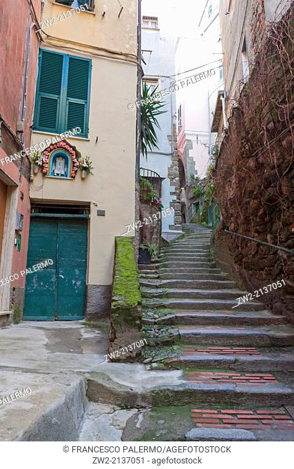 Typical Italian little street with stairs. Vernazza, Liguria. Italy