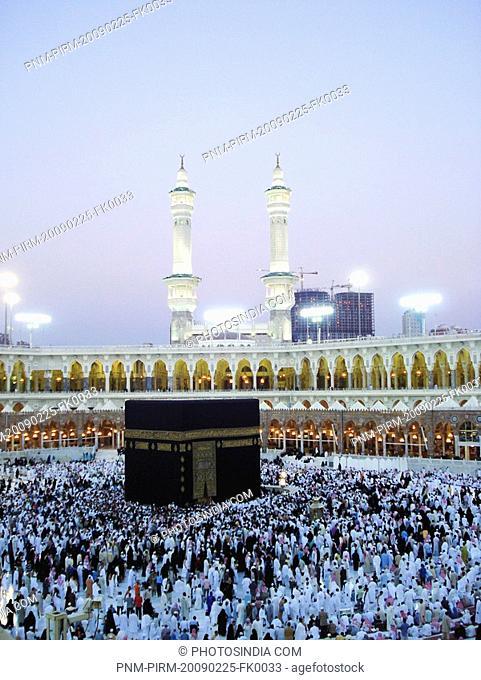 Huge crowd of pilgrims in a mosque, Al-Haram Mosque, Mecca, Saudi Arabia