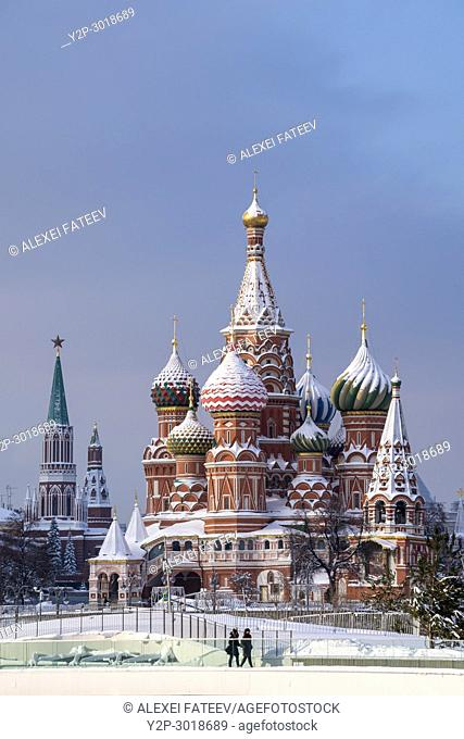 St. Basil cathedral in Moscow on a snowy day. Moscow, Russia