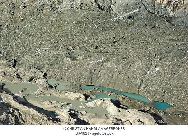 Melting water of glacier Pasterze on Großglockner Carinthia Austria