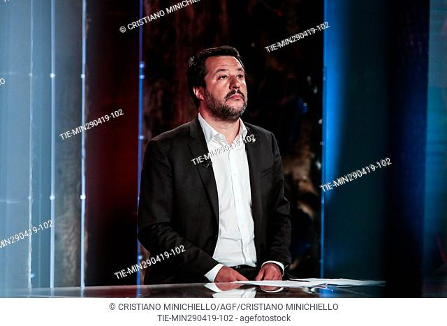 Italian Minister of Interior and Deputy Prime Minister Matteo Salvini attends at the tv show Povera Patria, Rome, ITALY-29-04-2019