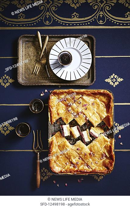 Date and ricotta baklava pie with rosewater syrup (Dubai)