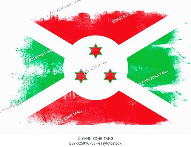 Flag of Burundi painted with brush on solid background