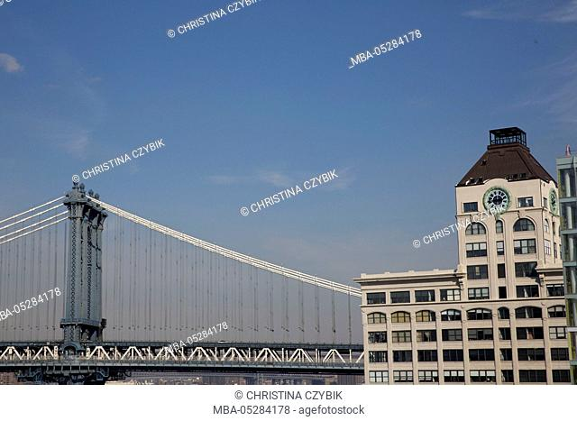 Manhattan Bridge from Brooklyn Bridge, New York