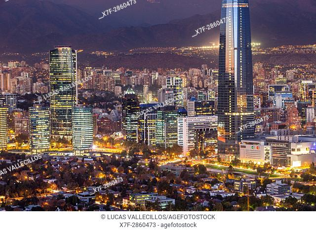 panorama of Santiago (Providencia buildings and the Gran Torre Santiago tower), Santiago, Chile