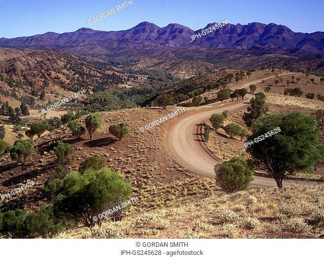 Road leading into Bunyeroo Gorge in the Flinders Ranges, South Australia's largest mountain range