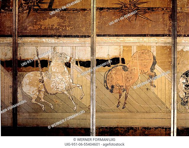 Folding screen depicting a stable scene detail