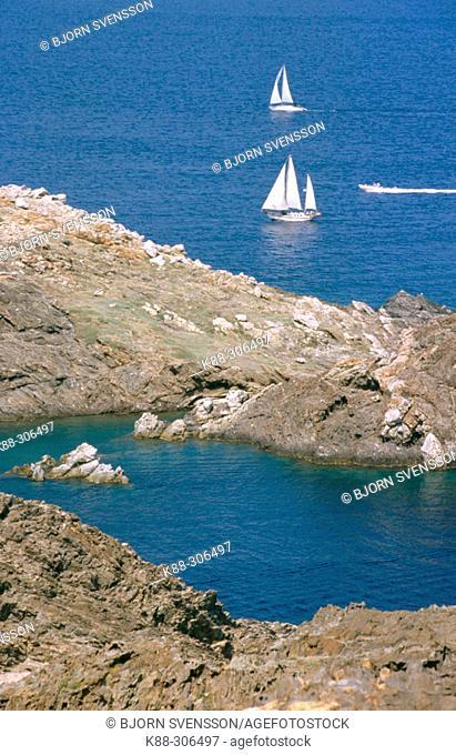 Sailboats. Cap de Creus, Costa Brava. Girona province, Spain