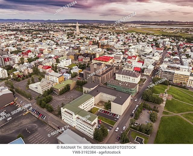 Aerial - Hallgrimskirkja Church and Reykjavik, Iceland. This image is shot using a drone