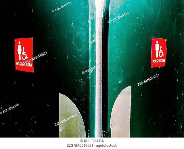 Symmetrical washroom doors, Ontario, Canada
